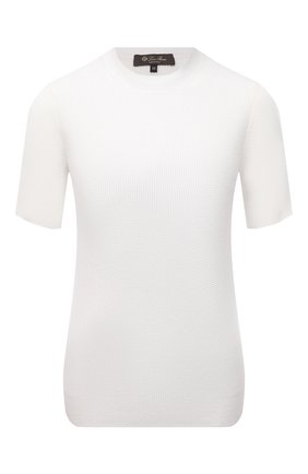 Женский пуловер из шелка и хлопка LORO PIANA белого цвета, арт. FAL5794   Фото 1 (Длина (для топов): Стандартные; Рукава: Короткие; Материал внешний: Хлопок, Шелк; Женское Кросс-КТ: Пуловер-одежда; Стили: Кэжуэл)