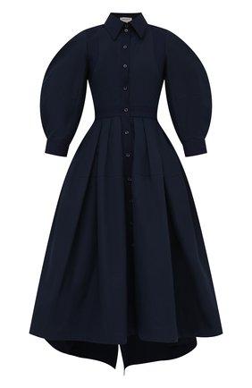 Женское хлопковое платье ALEXANDER MCQUEEN темно-синего цвета, арт. 657348/QAAAY | Фото 1 (Длина Ж (юбки, платья, шорты): Миди; Материал внешний: Хлопок; Женское Кросс-КТ: платье-рубашка, Платье-одежда; Случай: Повседневный, Формальный; Рукава: 3/4; Стили: Гламурный)