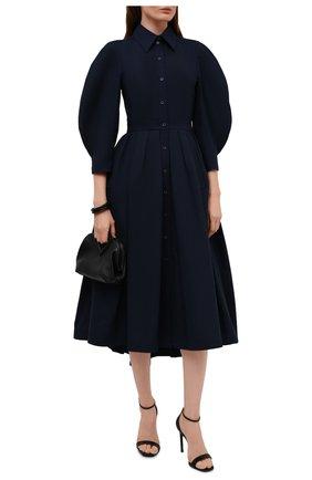 Женское хлопковое платье ALEXANDER MCQUEEN темно-синего цвета, арт. 657348/QAAAY | Фото 2 (Длина Ж (юбки, платья, шорты): Миди; Материал внешний: Хлопок; Женское Кросс-КТ: платье-рубашка, Платье-одежда; Случай: Повседневный, Формальный; Рукава: 3/4; Стили: Гламурный)