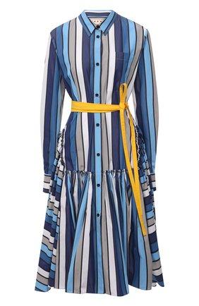 Женское хлопковое платье MARNI синего цвета, арт. ABMA0263Q0/TCZ52 | Фото 1