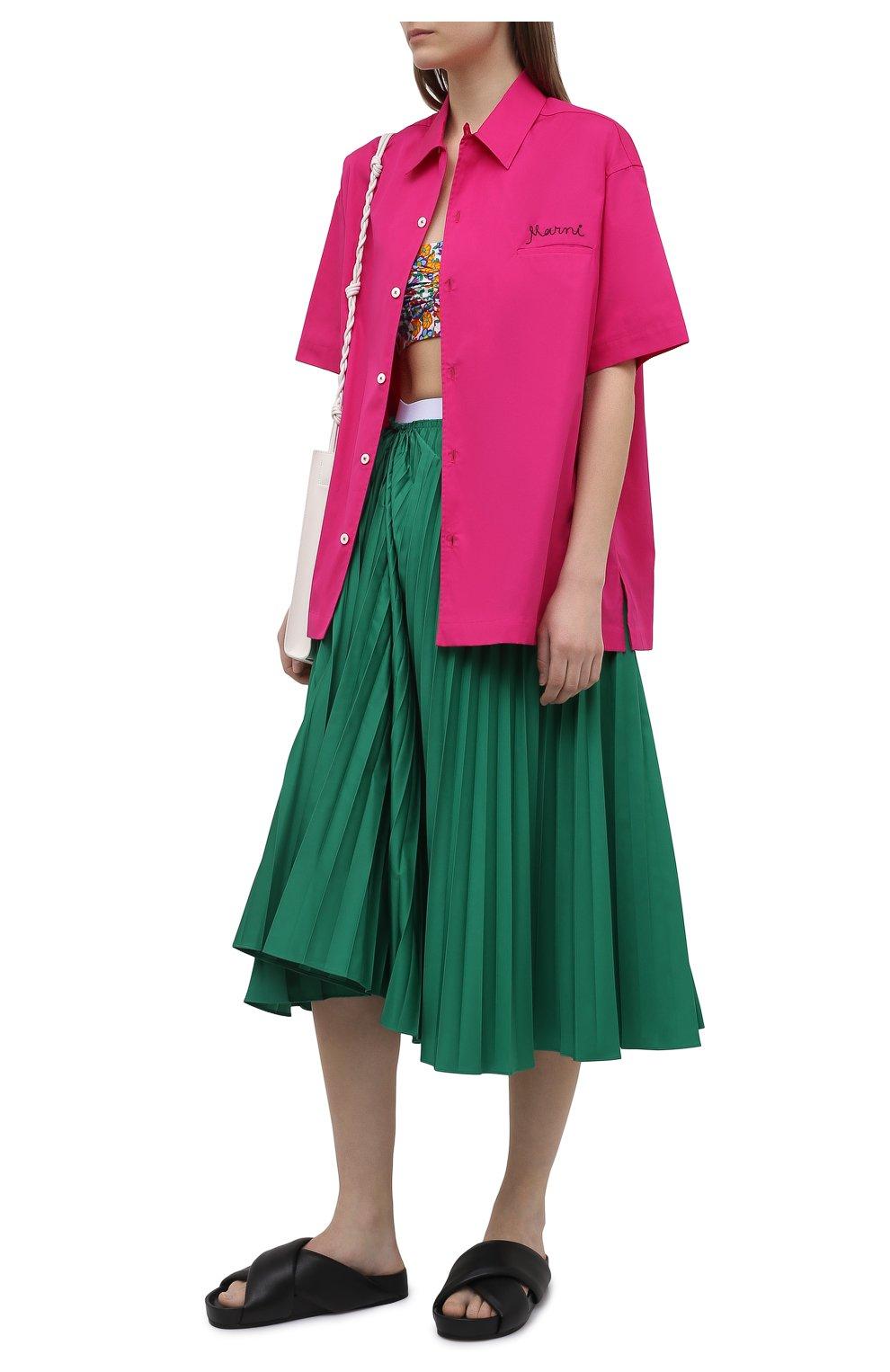 Женская плиссированная юбка MARNI зеленого цвета, арт. G0MA0362F0/TP690   Фото 2