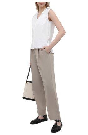 Женские шерстяные брюки MARNI бежевого цвета, арт. PAMA0248U0/TW839   Фото 2