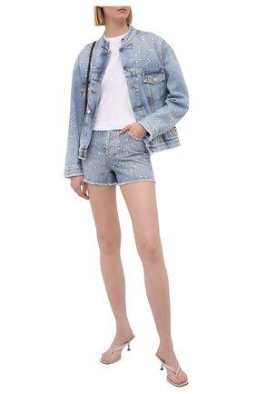 Женские джинсовые шорты ALEXANDRE VAUTHIER голубого цвета, арт. 211PA1403B 1421B-211 | Фото 2 (Материал внешний: Хлопок; Длина Ж (юбки, платья, шорты): Мини; Женское Кросс-КТ: Шорты-одежда; Стили: Гранж; Кросс-КТ: Деним)