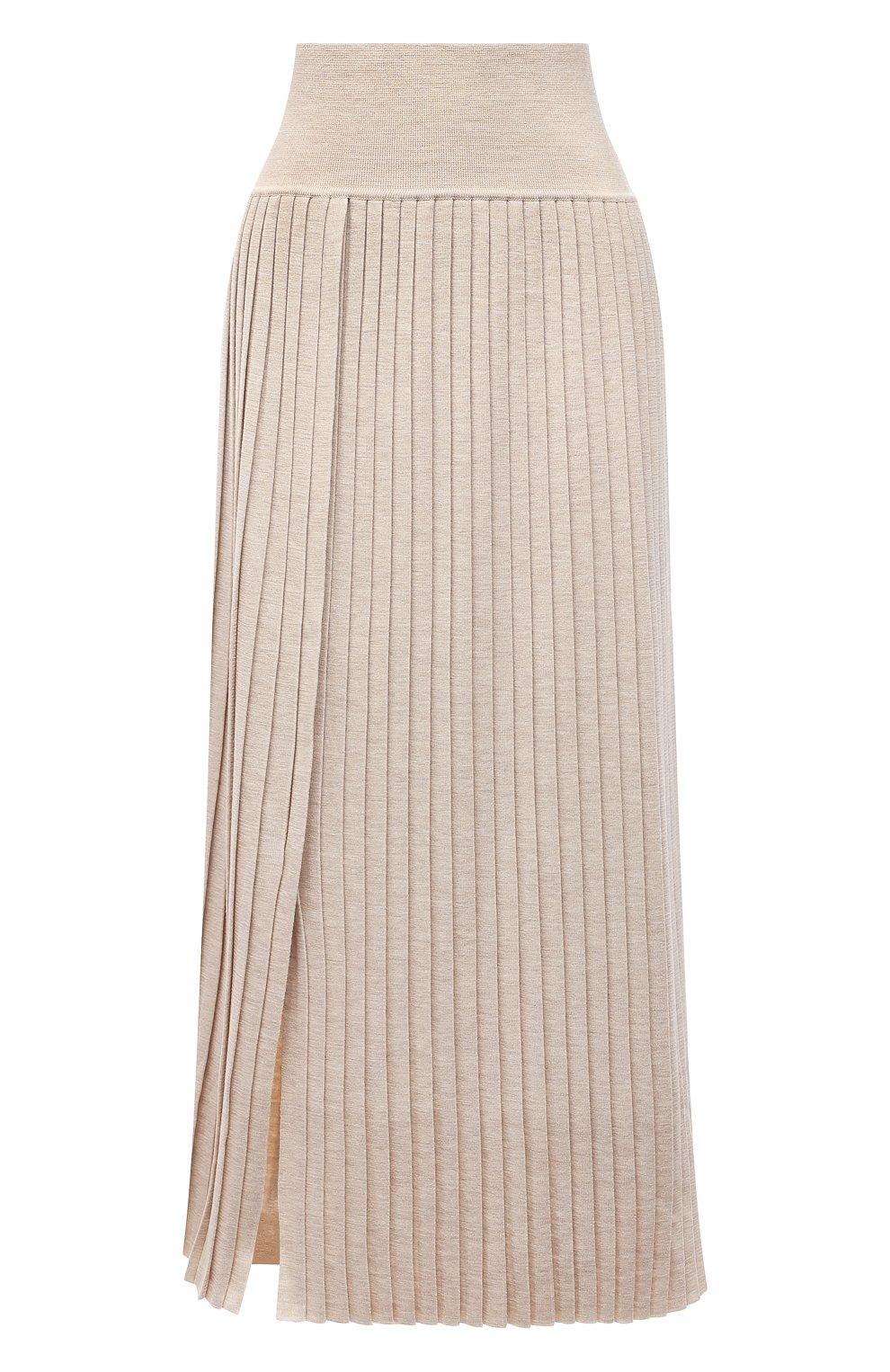 Женская юбка из шерсти и шелка THE ROW бежевого цвета, арт. 5678Y476 | Фото 1 (Материал внешний: Шерсть, Шелк; Женское Кросс-КТ: юбка-плиссе, Юбка-одежда; Кросс-КТ: Трикотаж; Длина Ж (юбки, платья, шорты): Макси; Стили: Кэжуэл)