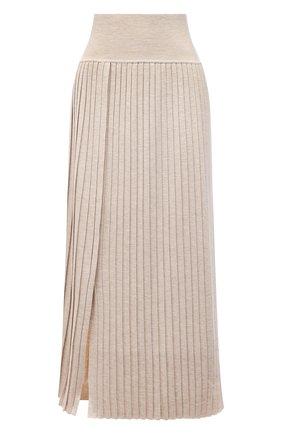 Женская юбка из шерсти и шелка THE ROW бежевого цвета, арт. 5678Y476 | Фото 1