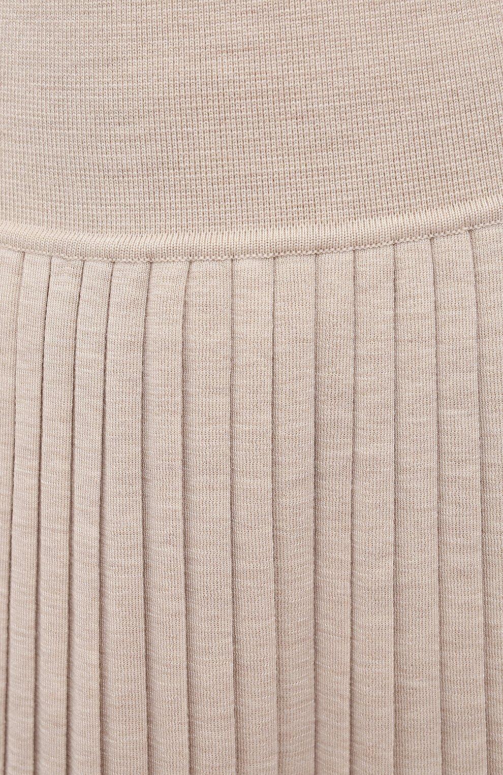 Женская юбка из шерсти и шелка THE ROW бежевого цвета, арт. 5678Y476 | Фото 5 (Материал внешний: Шерсть, Шелк; Женское Кросс-КТ: юбка-плиссе, Юбка-одежда; Кросс-КТ: Трикотаж; Длина Ж (юбки, платья, шорты): Макси; Стили: Кэжуэл)