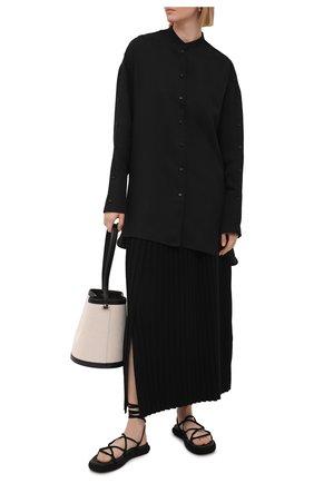 Женская юбка из шерсти и шелка THE ROW черного цвета, арт. 5678Y476 | Фото 2