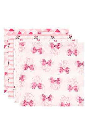 Детского комплект из четырех пеленок ADEN+ANAIS розового цвета, арт. ADISN100 | Фото 1