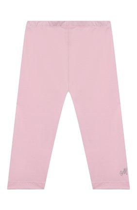 Детские хлопковые леггинсы MONNALISA розового цвета, арт. 177LEG   Фото 1