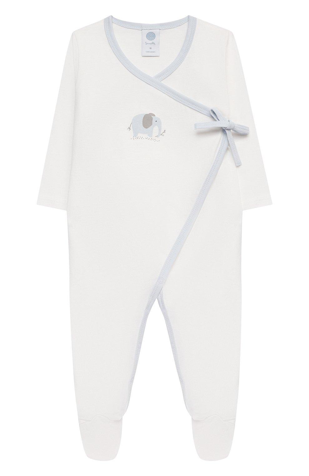 Детский хлопковый комбинезон SANETTA белого цвета, арт. 221637 | Фото 1