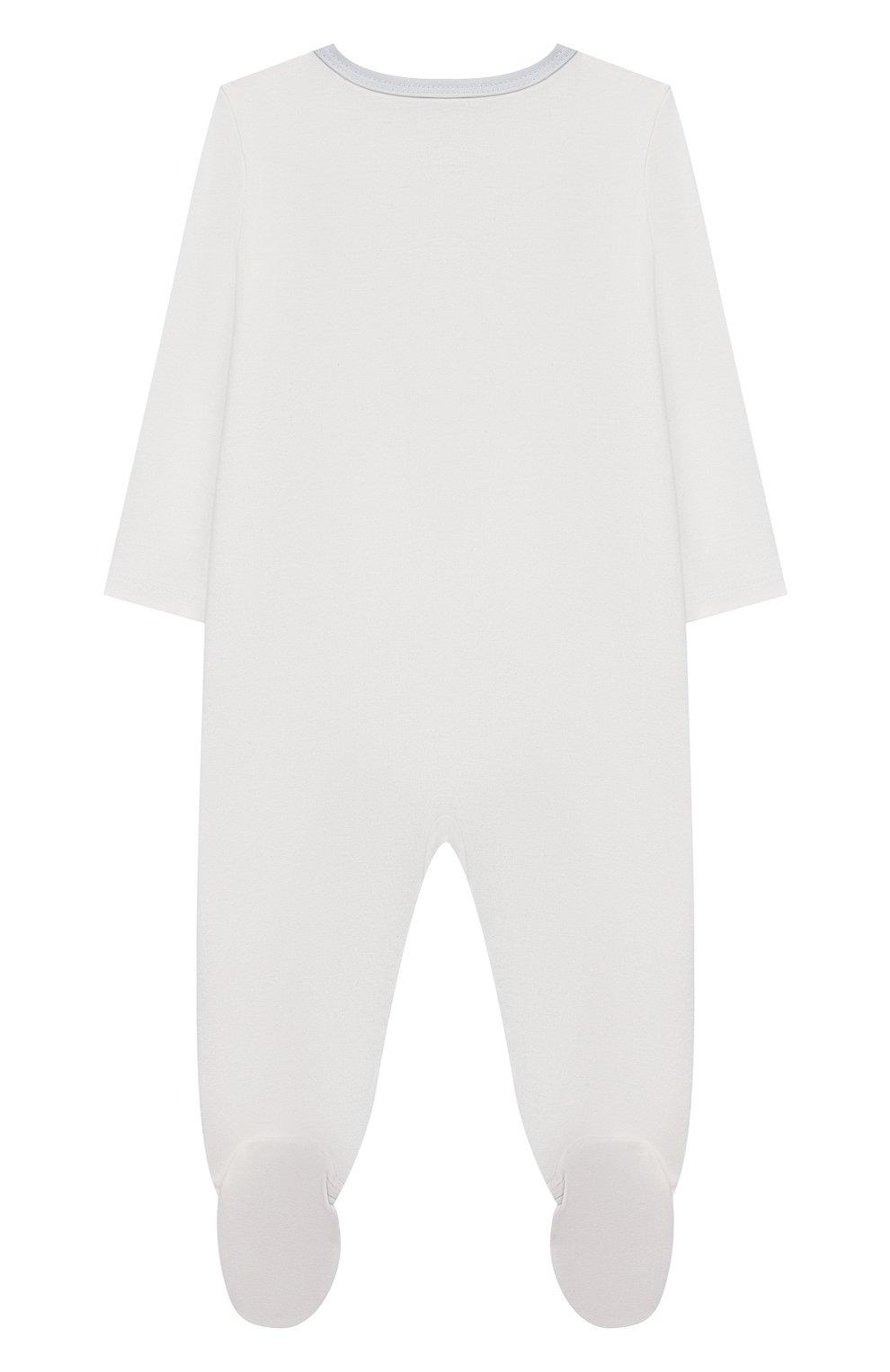 Детский хлопковый комбинезон SANETTA белого цвета, арт. 221637 | Фото 2
