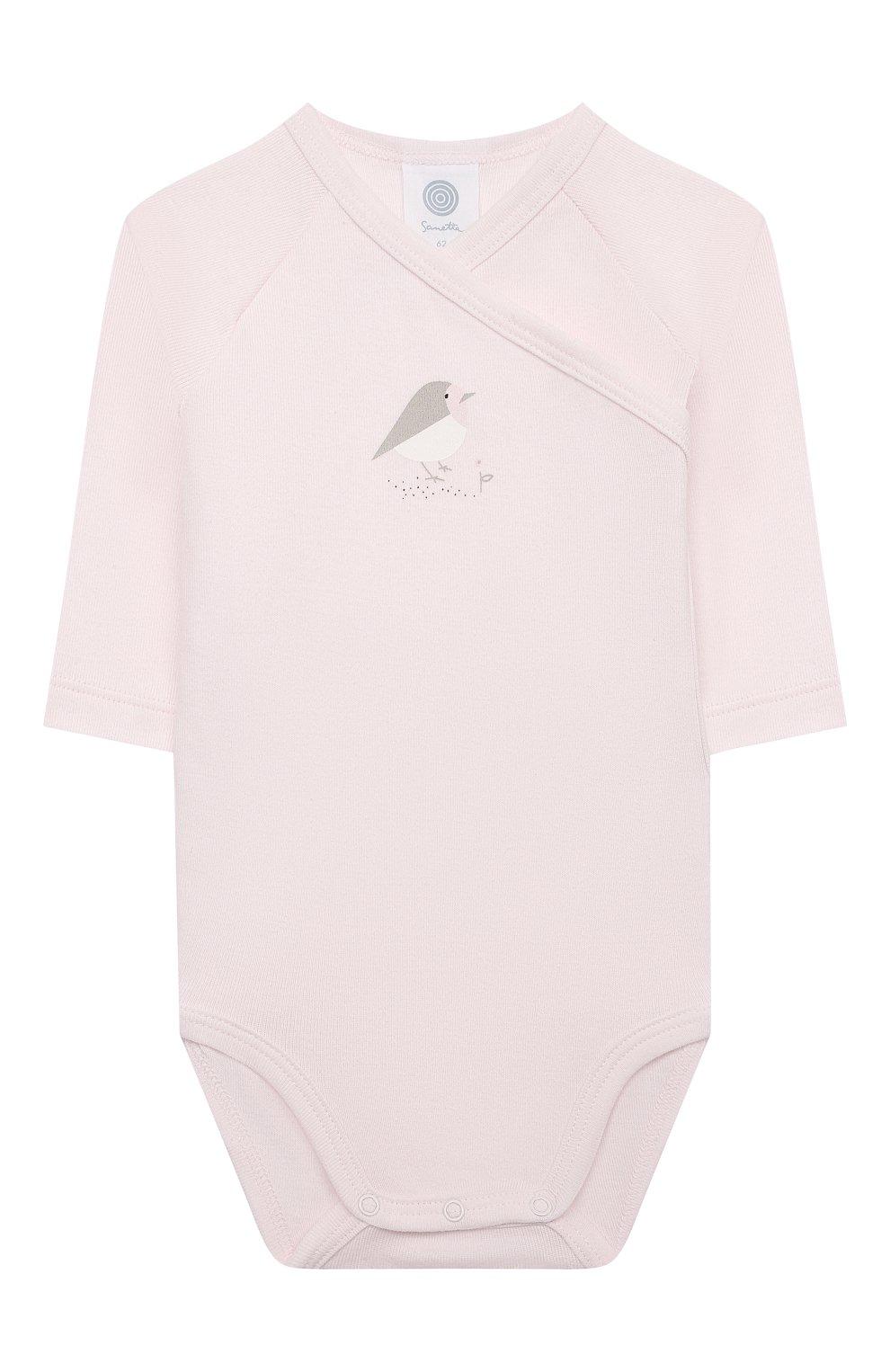 Детское хлопковое боди SANETTA светло-розового цвета, арт. 323160 | Фото 1