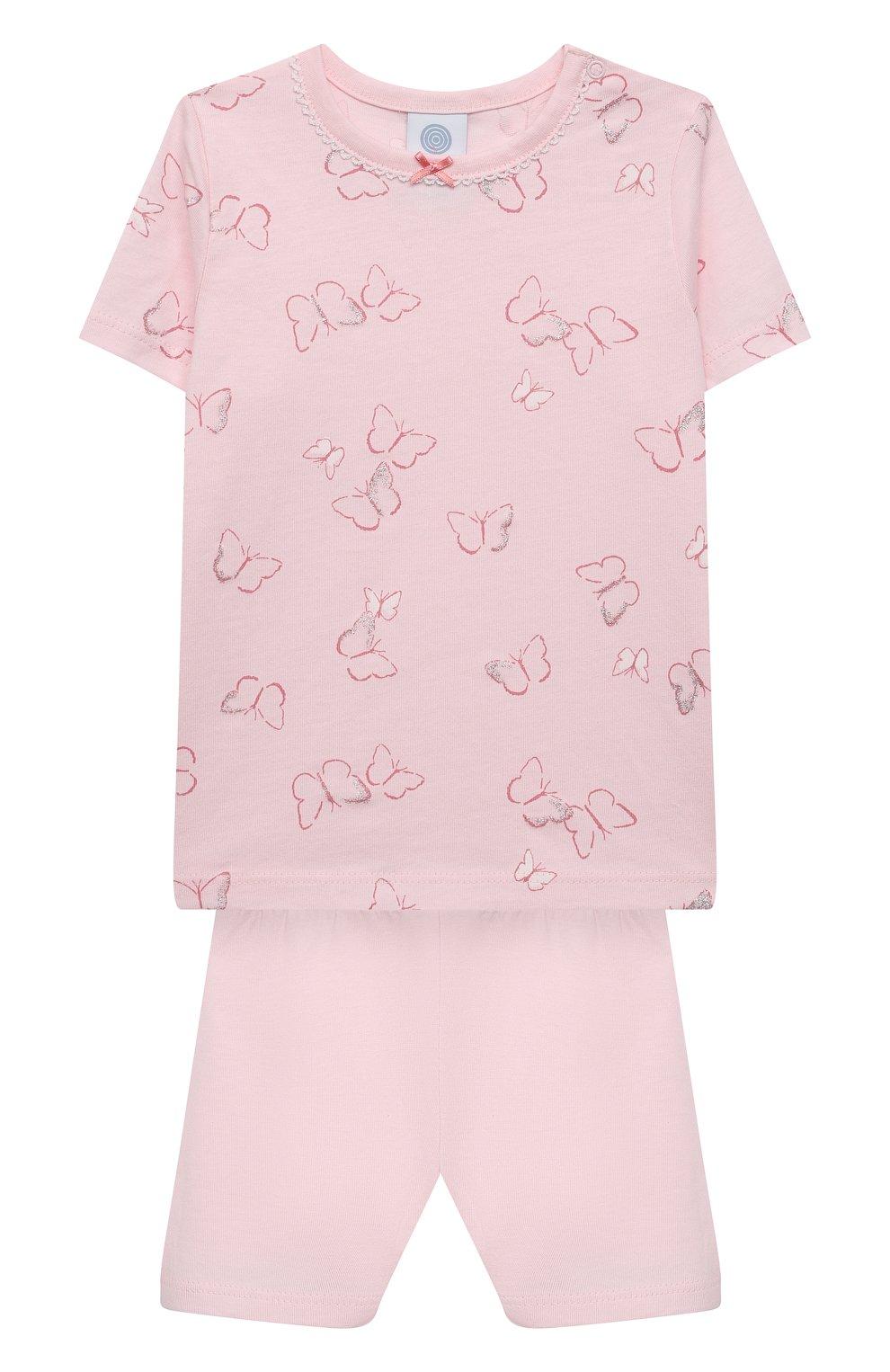 Детская хлопковая пижама SANETTA светло-розового цвета, арт. 221613 | Фото 1