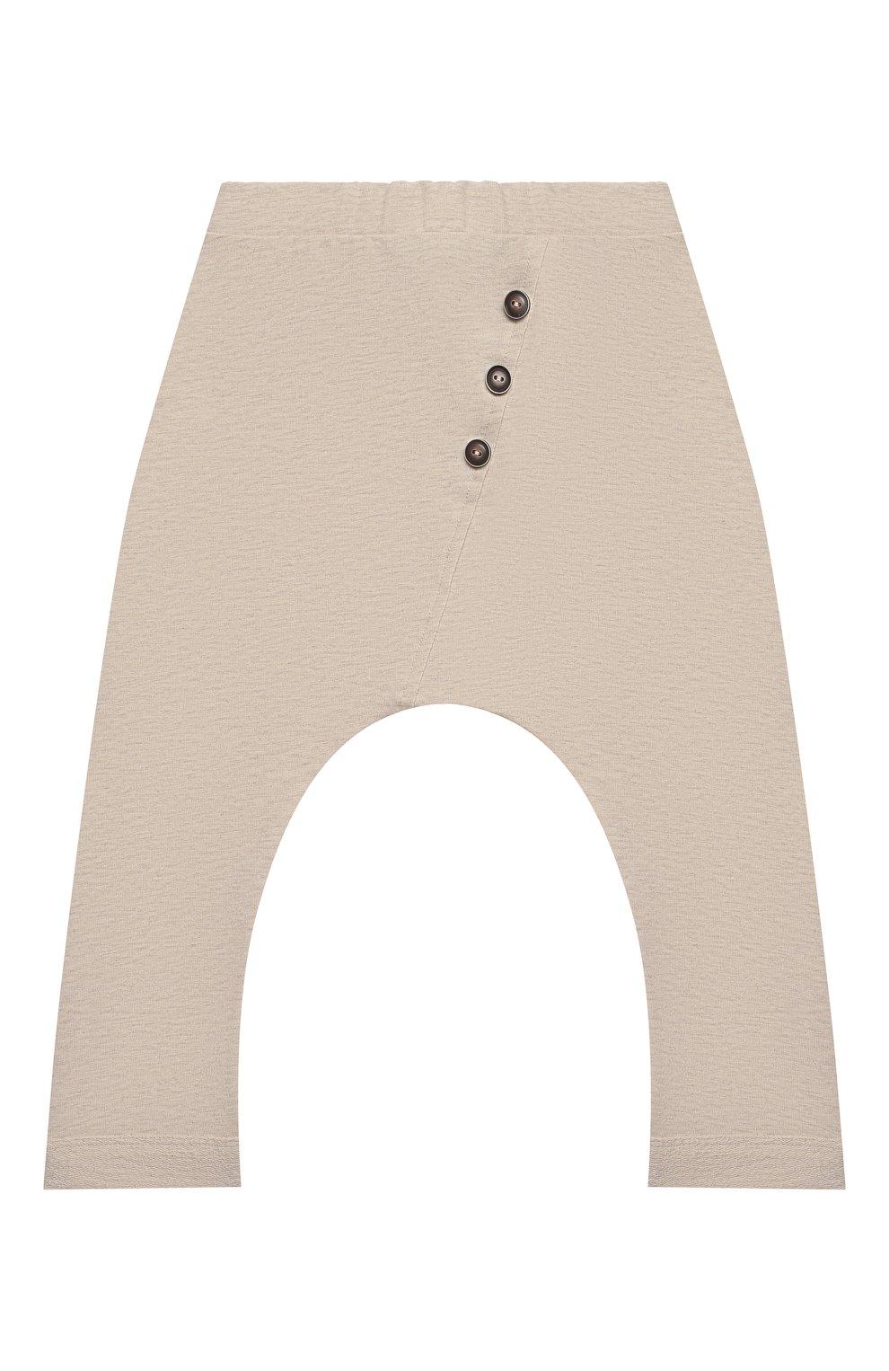 Детские хлопковые брюки SANETTA бежевого цвета, арт. 10259 | Фото 1