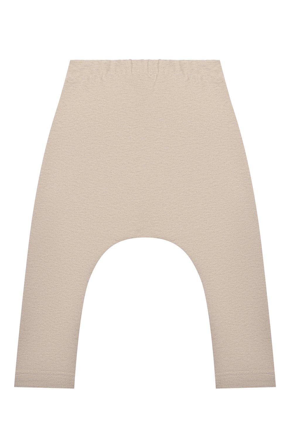Детские хлопковые брюки SANETTA бежевого цвета, арт. 10259 | Фото 2