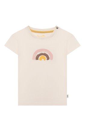 Детский хлопковая футболка SANETTA белого цвета, арт. 10250 | Фото 1
