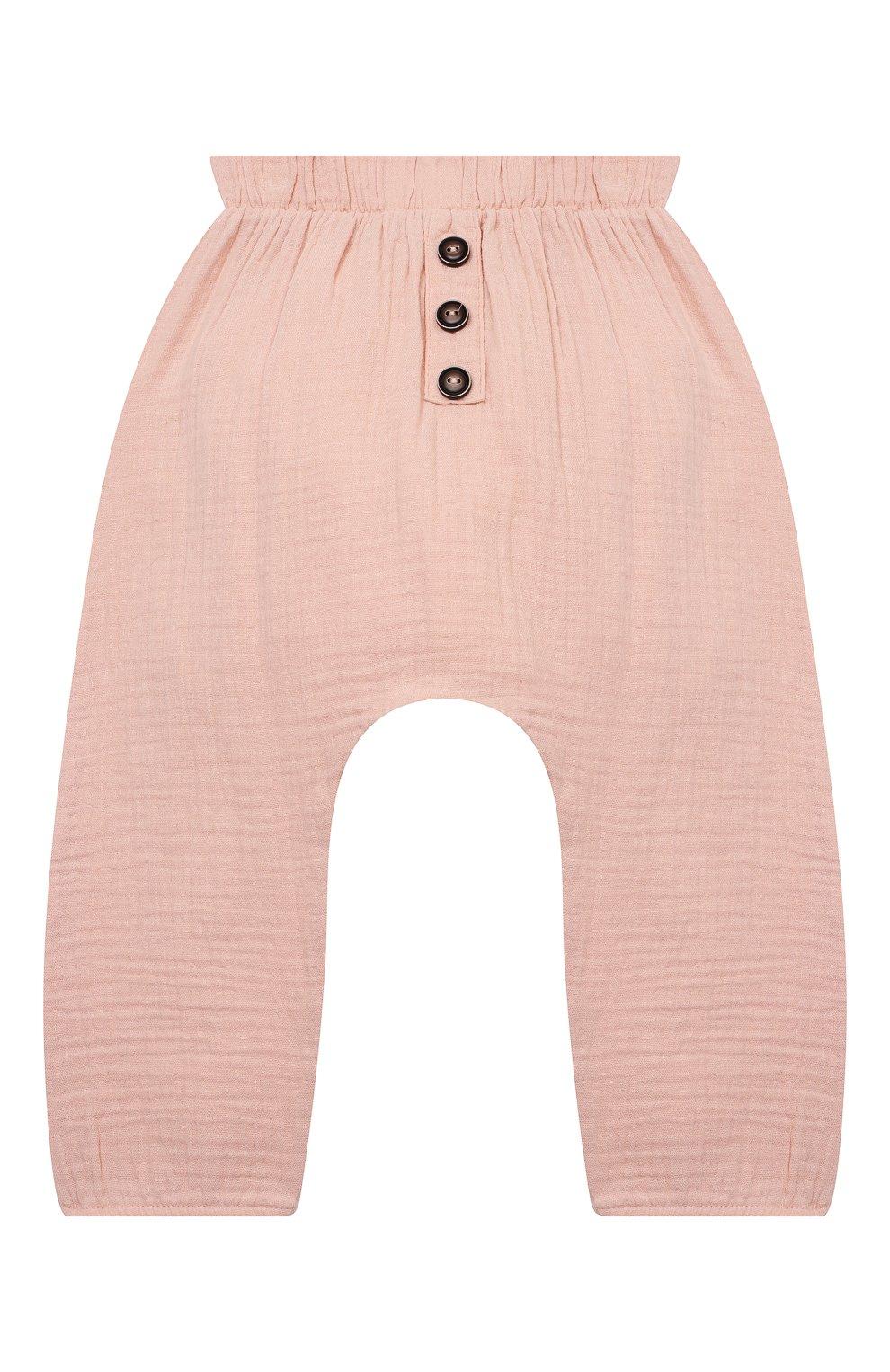 Детские хлопковые брюки SANETTA розового цвета, арт. 10260   Фото 1