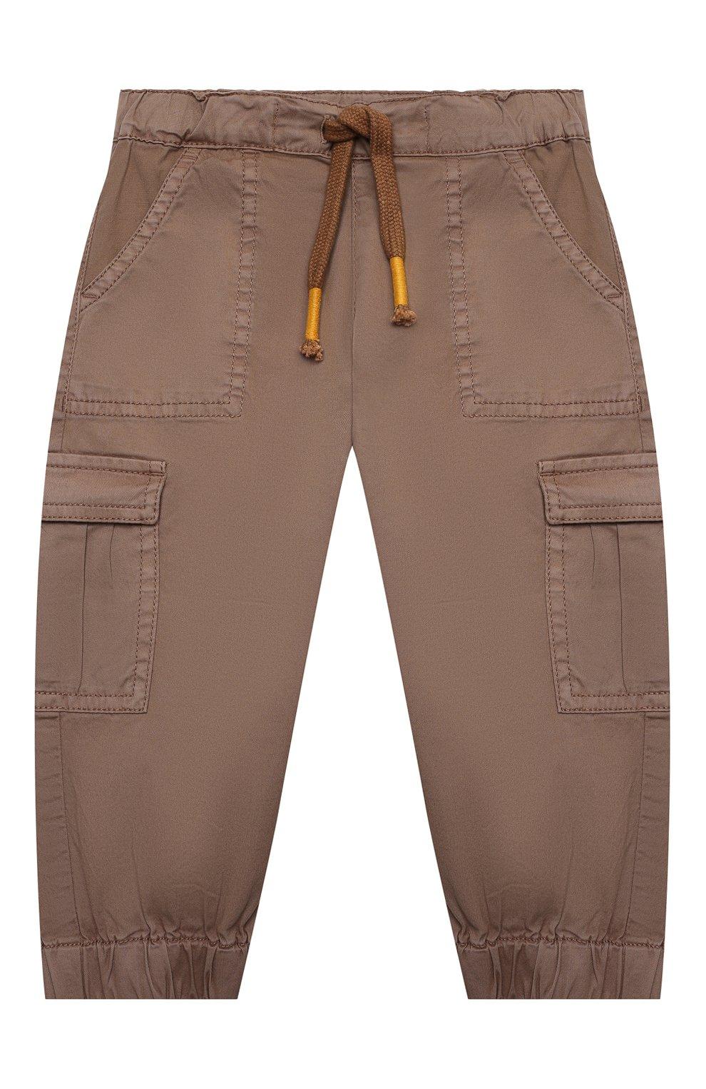 Детские хлопковые брюки-карго SANETTA коричневого цвета, арт. 10275 | Фото 1