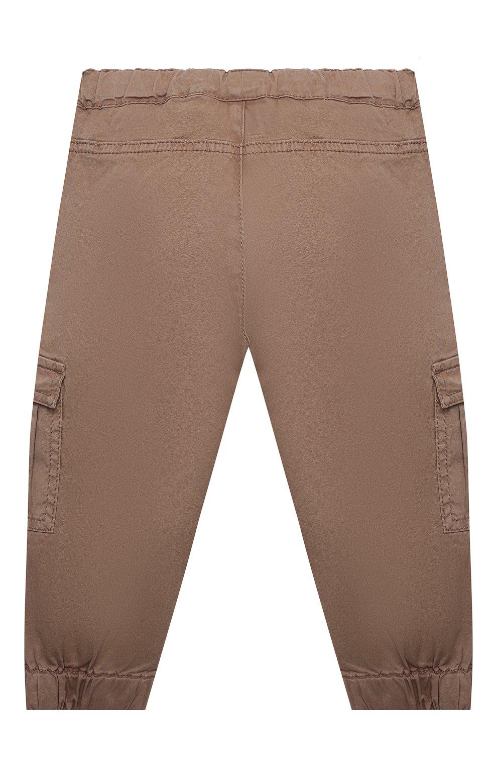 Детские хлопковые брюки-карго SANETTA коричневого цвета, арт. 10275 | Фото 2
