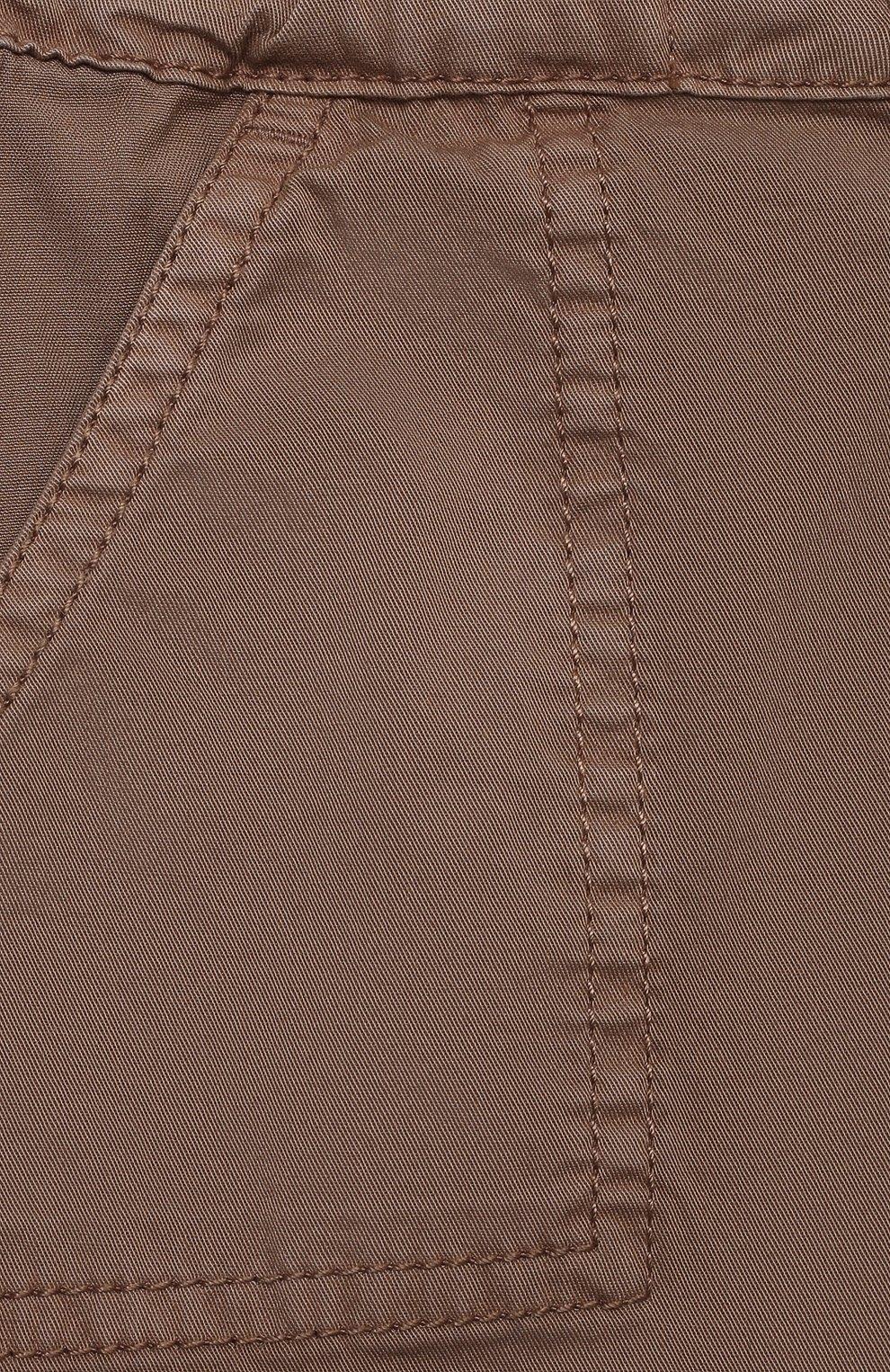 Детские хлопковые брюки-карго SANETTA коричневого цвета, арт. 10275 | Фото 3