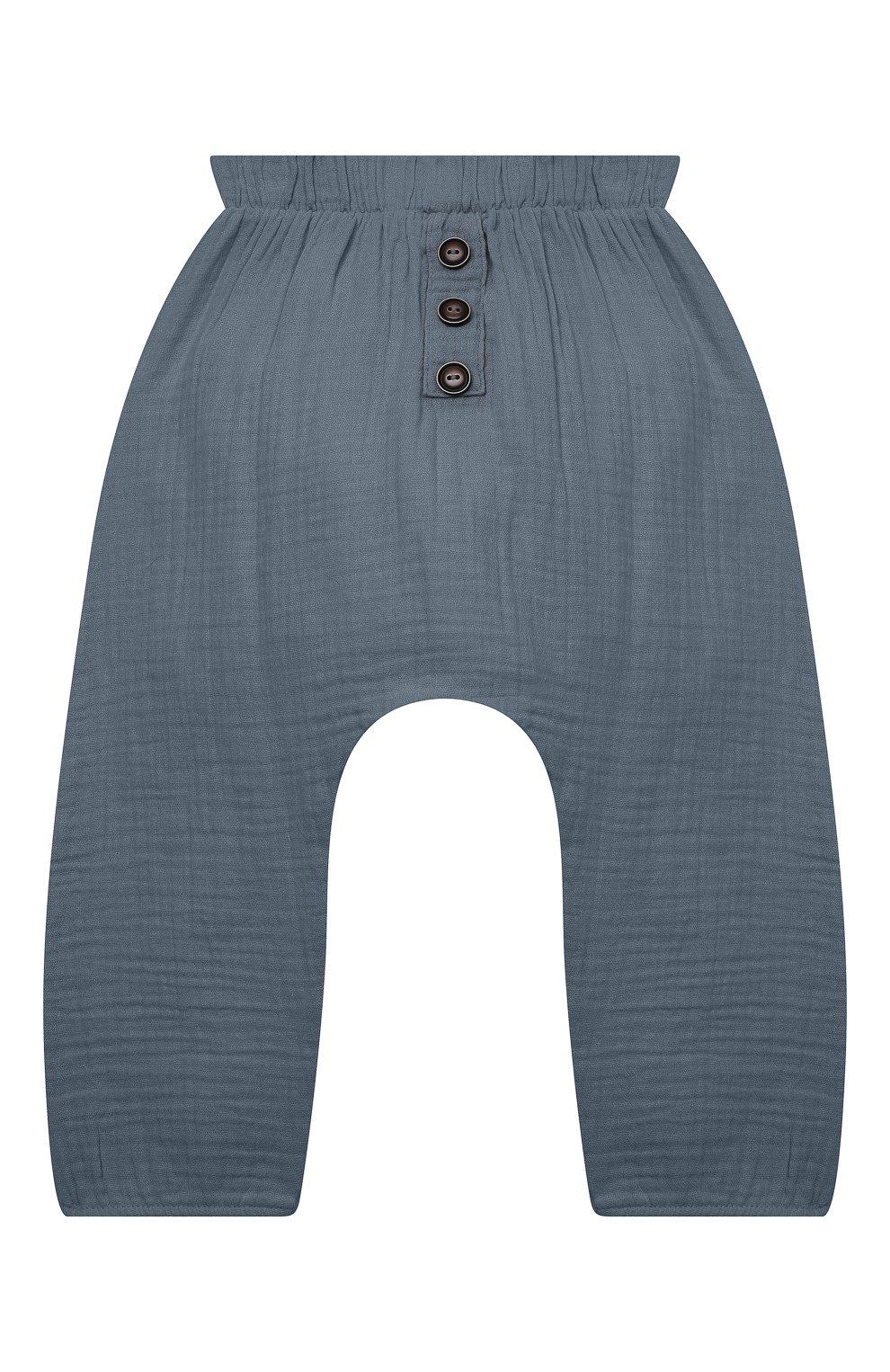 Детские хлопковые брюки SANETTA синего цвета, арт. 10260 | Фото 1