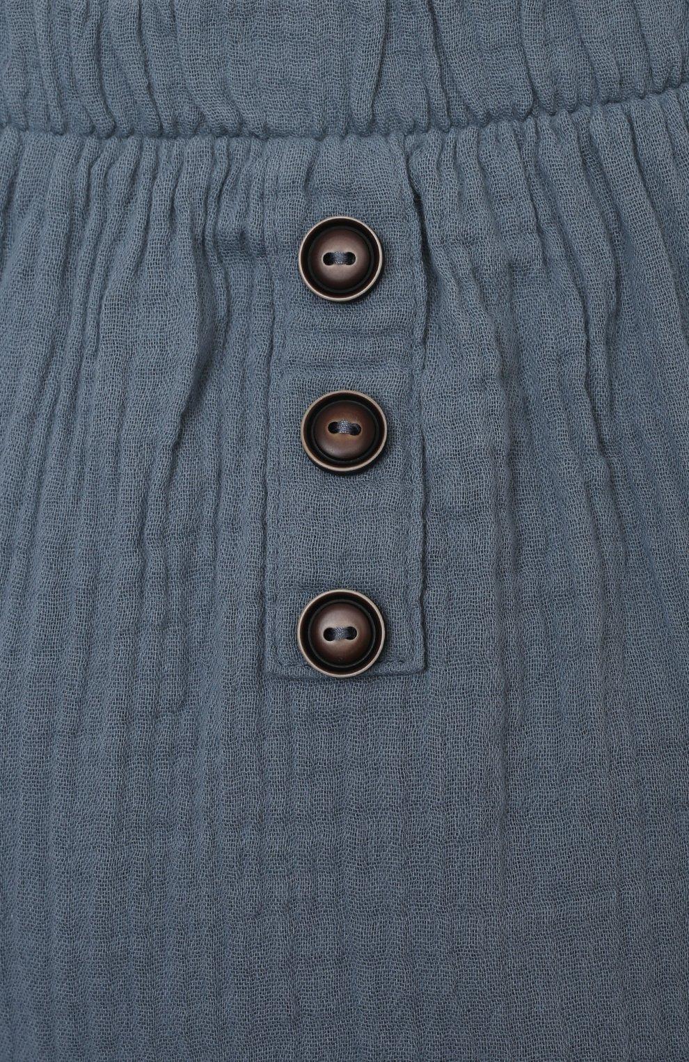 Детские хлопковые брюки SANETTA синего цвета, арт. 10260 | Фото 3