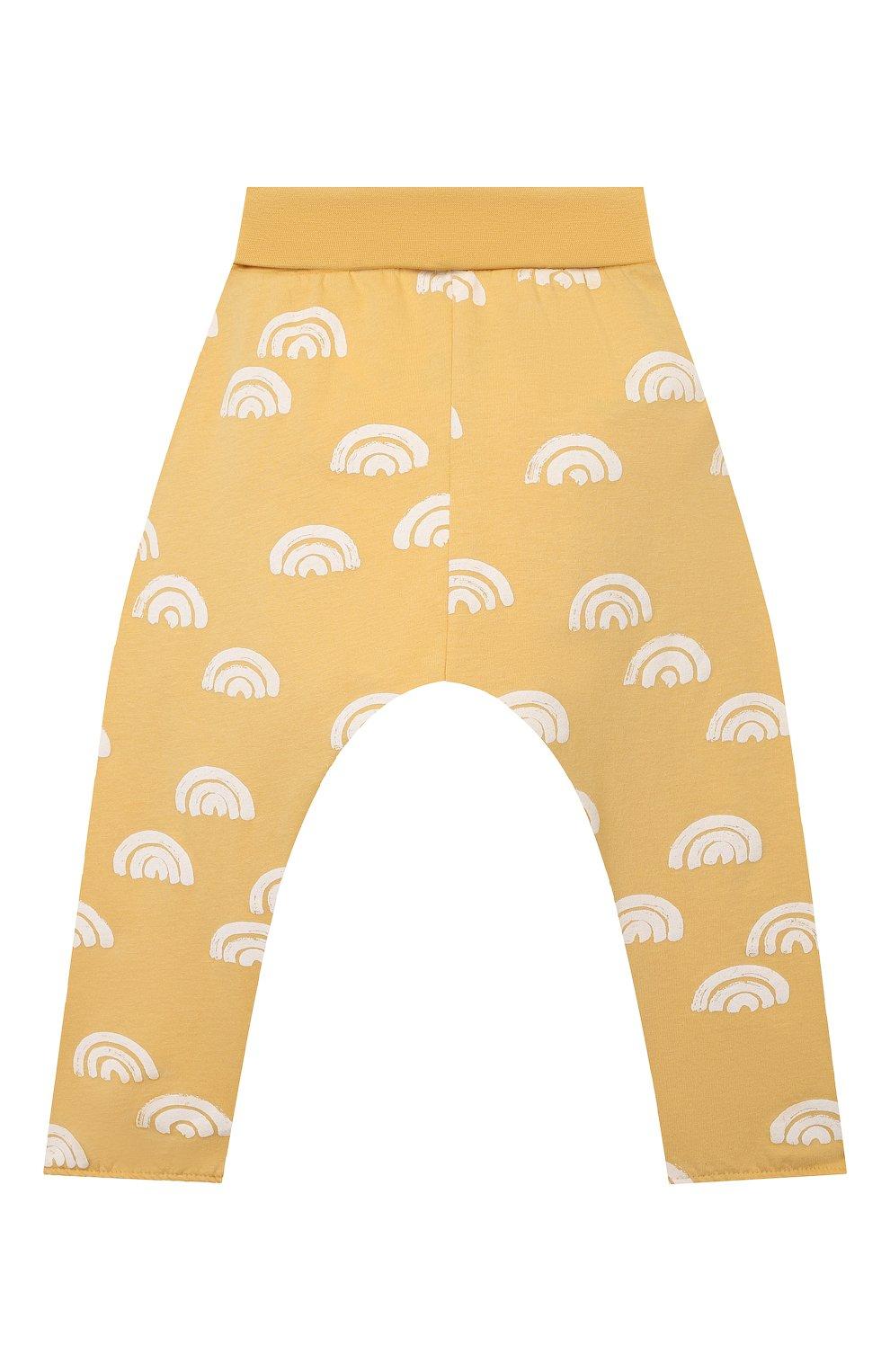 Детские хлопковые брюки SANETTA желтого цвета, арт. 10258 | Фото 2