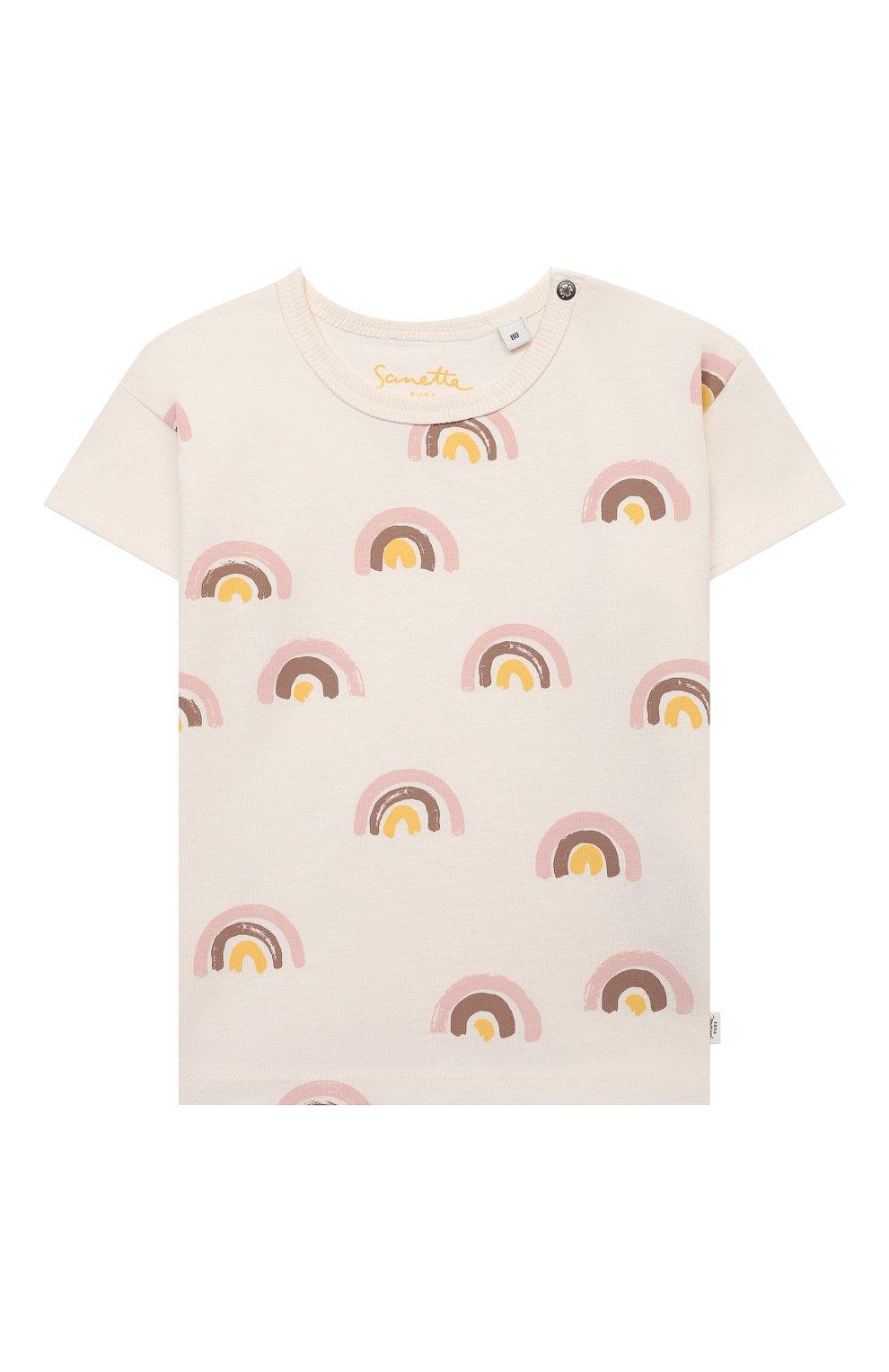 Детский хлопковая футболка SANETTA белого цвета, арт. 10314 | Фото 1