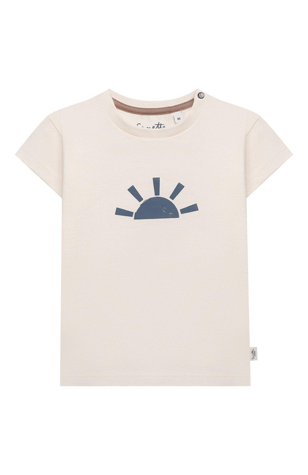 Детский хлопковая футболка SANETTA белого цвета, арт. 10294 | Фото 1