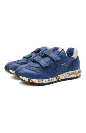 Детские кожаные кроссовки PREMIATA WILL BE синего цвета, арт. LUCY V/12-21521/CHILD | Фото 1 (Материал внутренний: Натуральная кожа)