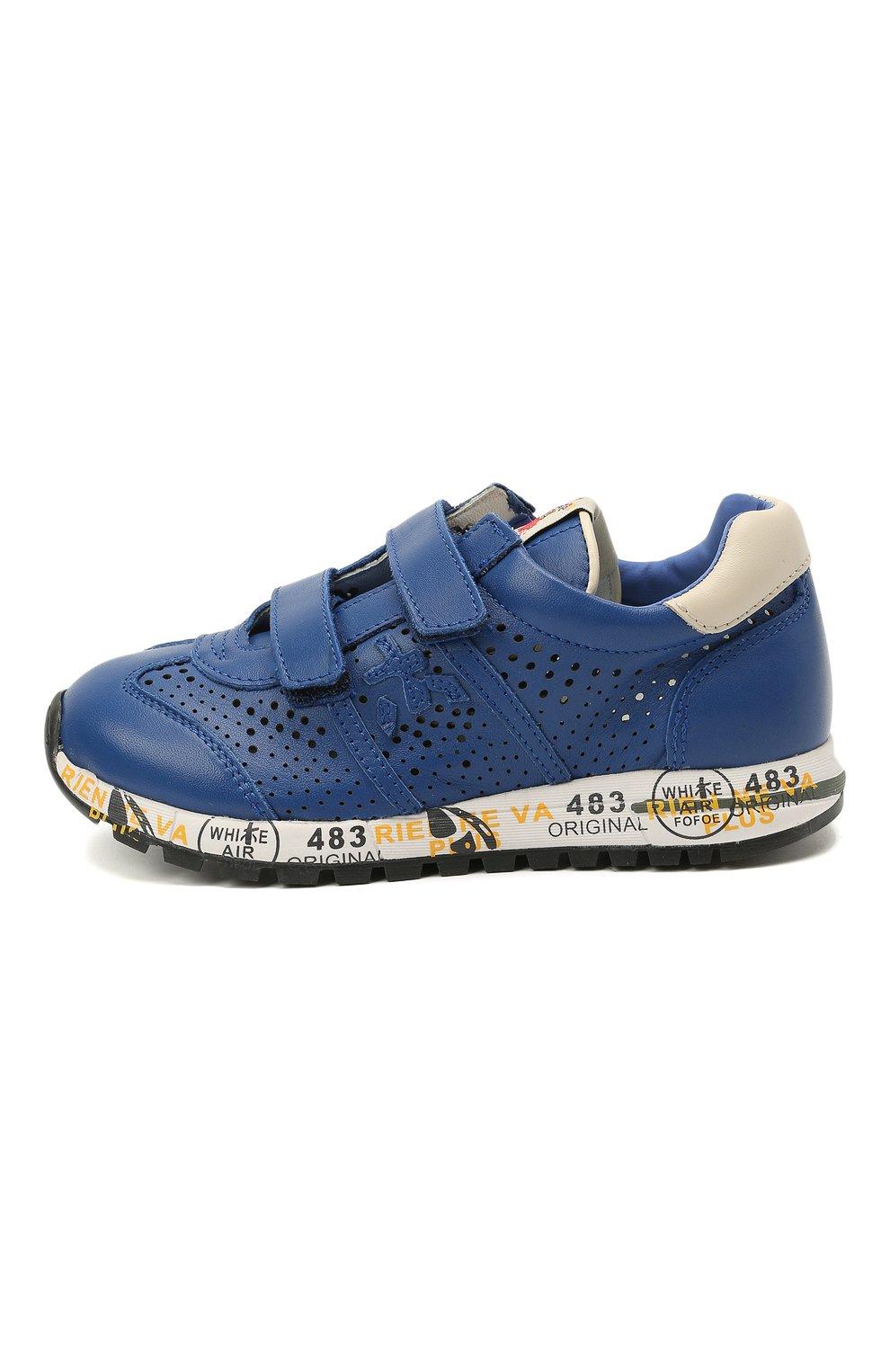Детские кожаные кроссовки PREMIATA WILL BE синего цвета, арт. LUCY V/12-21521/CHILD   Фото 2 (Материал внутренний: Натуральная кожа)