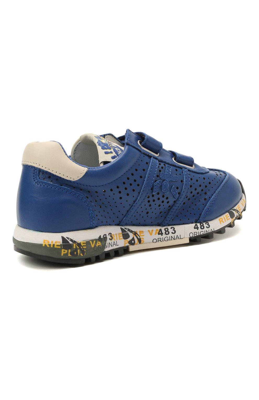 Детские кожаные кроссовки PREMIATA WILL BE синего цвета, арт. LUCY V/12-21521/CHILD   Фото 3 (Материал внутренний: Натуральная кожа)