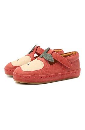 Детские кожаные слипоны DONSJE AMSTERDAM красного цвета, арт. 2009001-CL033/23-28   Фото 1