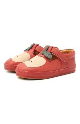 Детские кожаные слипоны DONSJE AMSTERDAM красного цвета, арт. 2009001-CL033/29-33   Фото 1