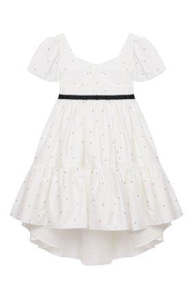 Детское хлопковое платье DESIGNERS CAT белого цвета, арт. 100000K01000714/4A-8A | Фото 1