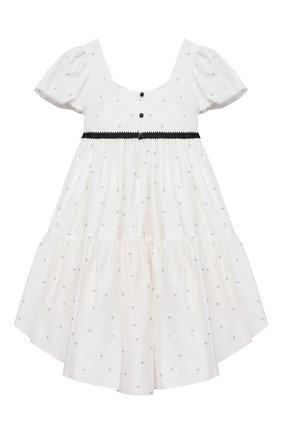 Детское хлопковое платье DESIGNERS CAT белого цвета, арт. 100000K01000714/4A-8A | Фото 2