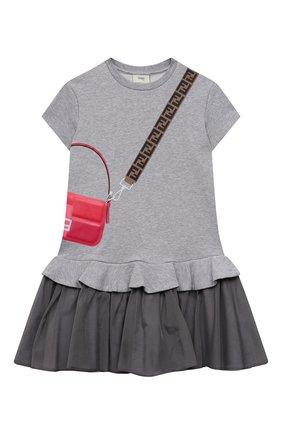 Детское хлопковое платье FENDI светло-серого цвета, арт. JFB382/AEY0/8A-12+ | Фото 1