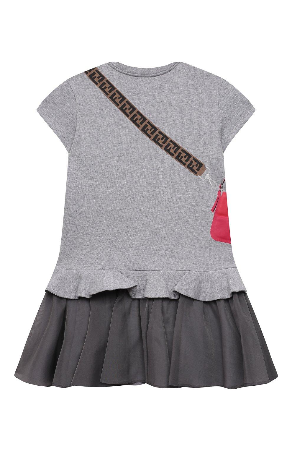 Детское хлопковое платье FENDI светло-серого цвета, арт. JFB382/AEY0/8A-12+ | Фото 2