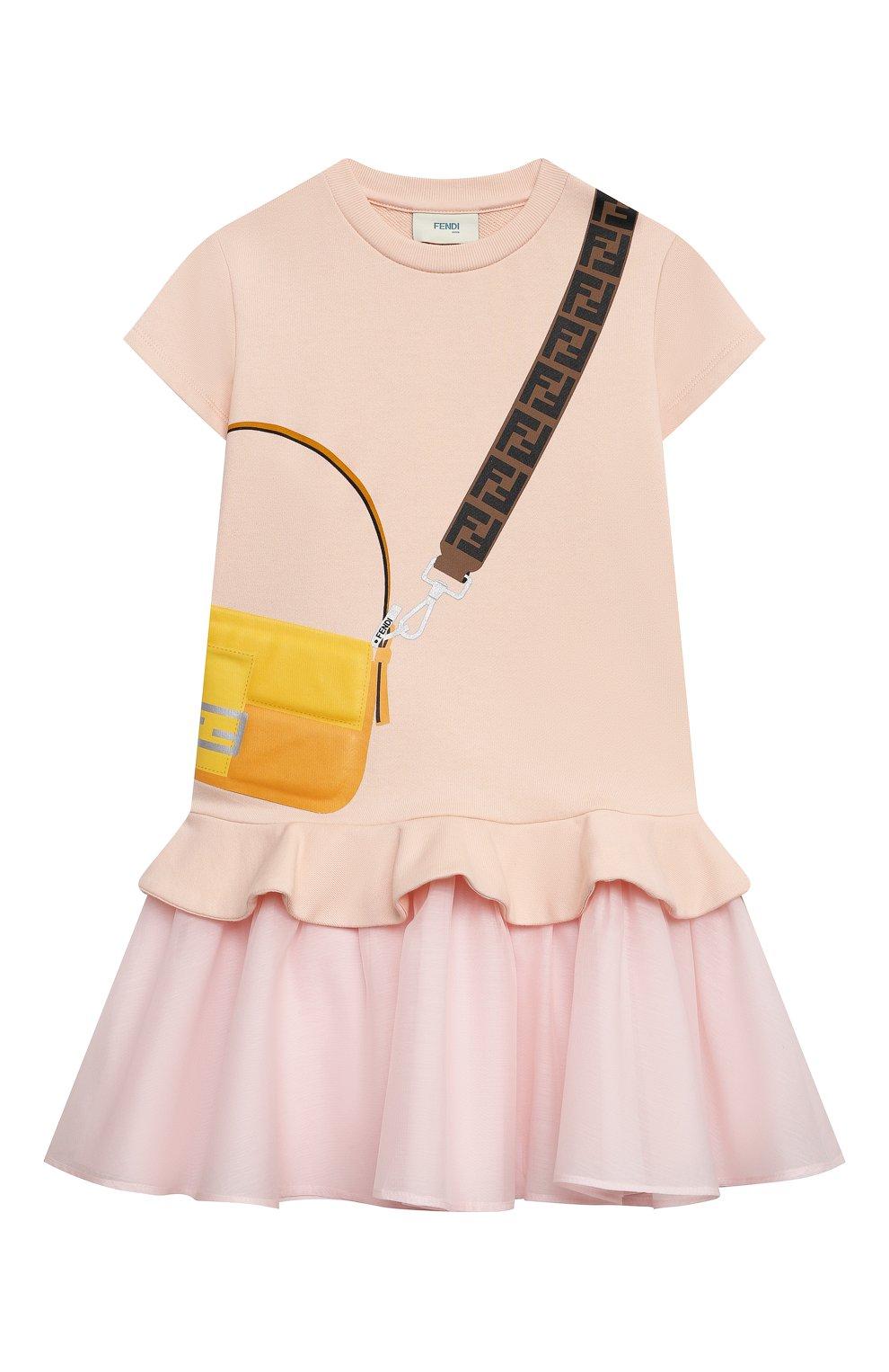 Детское хлопковое платье FENDI светло-розового цвета, арт. JFB382/AEY0/3A-6A   Фото 1