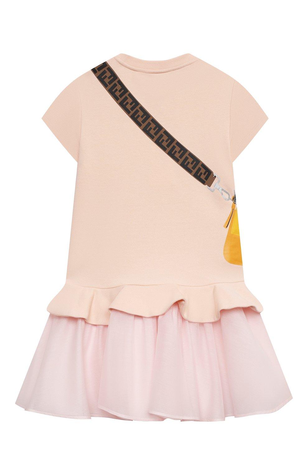 Детское хлопковое платье FENDI светло-розового цвета, арт. JFB382/AEY0/3A-6A   Фото 2