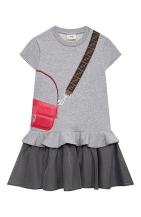 Детское хлопковое платье FENDI светло-серого цвета, арт. JFB382/AEY0/3A-6A | Фото 1