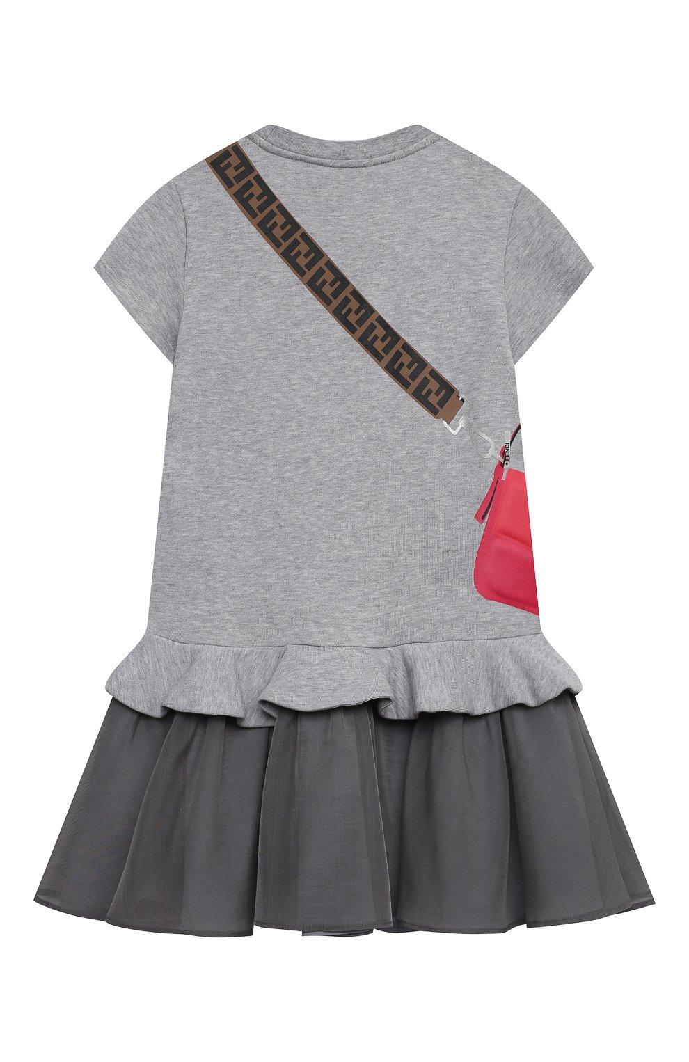 Детское хлопковое платье FENDI светло-серого цвета, арт. JFB382/AEY0/3A-6A | Фото 2