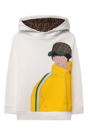 Детский хлопковое худи FENDI белого цвета, арт. JMH146/5V0/8A-12+   Фото 1