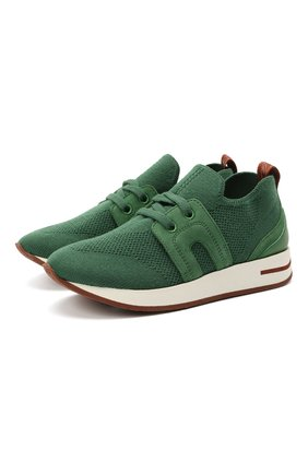 Детские кроссовки LORO PIANA зеленого цвета, арт. FAL0921 | Фото 1 (Материал внутренний: Натуральная кожа; Материал внешний: Шерсть)