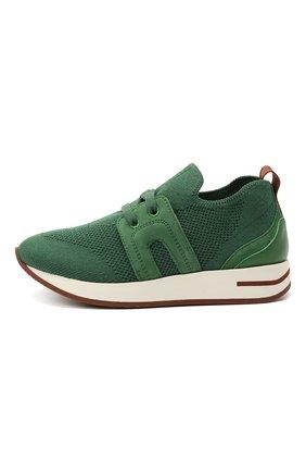 Детские кроссовки LORO PIANA зеленого цвета, арт. FAL0921 | Фото 2 (Материал внутренний: Натуральная кожа; Материал внешний: Шерсть)
