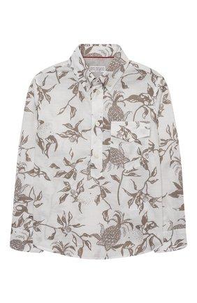 Детская хлопковая рубашка BRUNELLO CUCINELLI бежевого цвета, арт. BW639C320A | Фото 1 (Материал внешний: Хлопок; Случай: Повседневный; Рукава: Длинные; Ростовка одежда: 4 года | 104 см, 6 лет | 116 см)