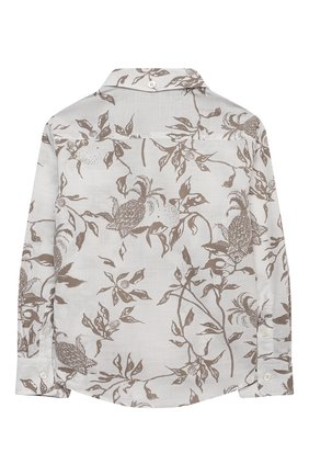 Детская хлопковая рубашка BRUNELLO CUCINELLI бежевого цвета, арт. BW639C320A | Фото 2 (Материал внешний: Хлопок; Случай: Повседневный; Рукава: Длинные; Ростовка одежда: 4 года | 104 см, 6 лет | 116 см)