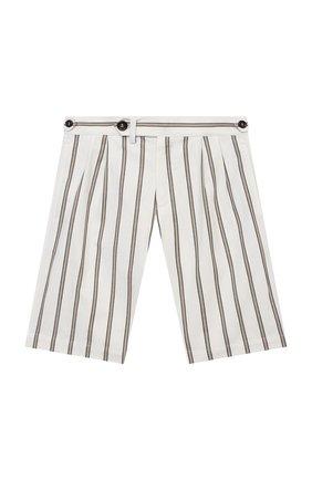 Детские хлопковые шорты BRUNELLO CUCINELLI белого цвета, арт. BH226P904A   Фото 1