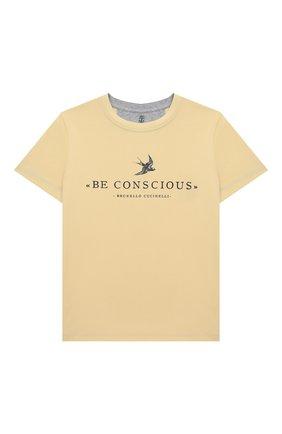 Детская хлопковая футболка BRUNELLO CUCINELLI желтого цвета, арт. BE857T132B   Фото 1