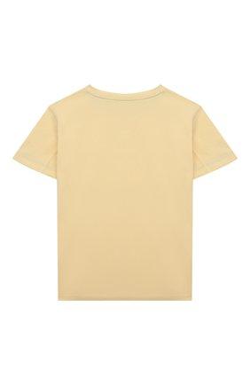 Детская хлопковая футболка BRUNELLO CUCINELLI желтого цвета, арт. BE857T132B   Фото 2